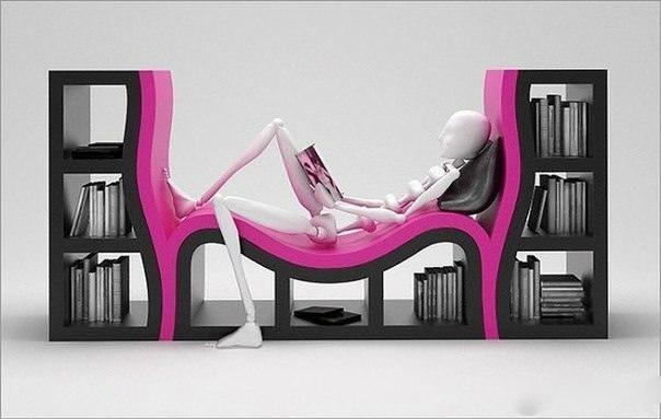 お洒落なデザインの本棚:ベッドが付き