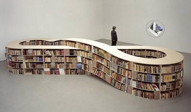 お洒落なデザインの本棚:無限