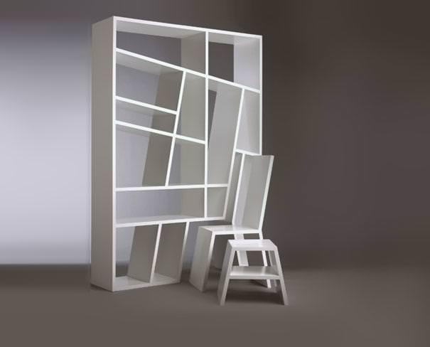 お洒落なデザインの本棚:取り外し可能なテーブルとイスが埋め込んである本棚
