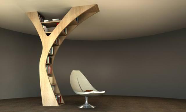 お洒落なデザインの本棚:Y字