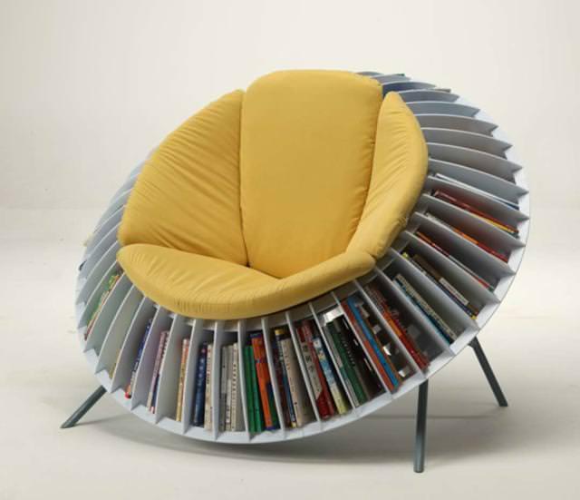 お洒落なデザインの本棚:ヒマワリ
