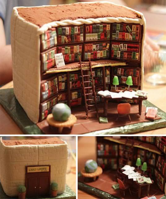 創作ケーキ:本棚