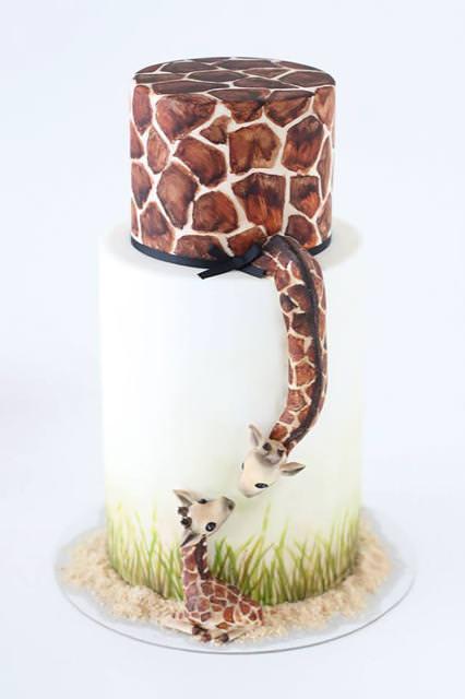 創作ケーキ:キリンの親子
