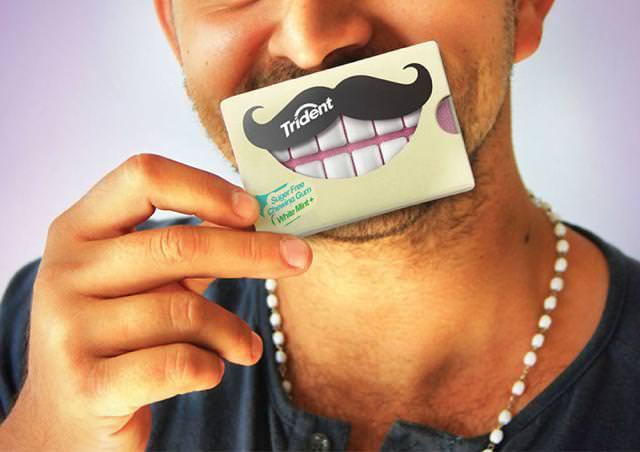 ガムが歯になっているパッケージデザイン