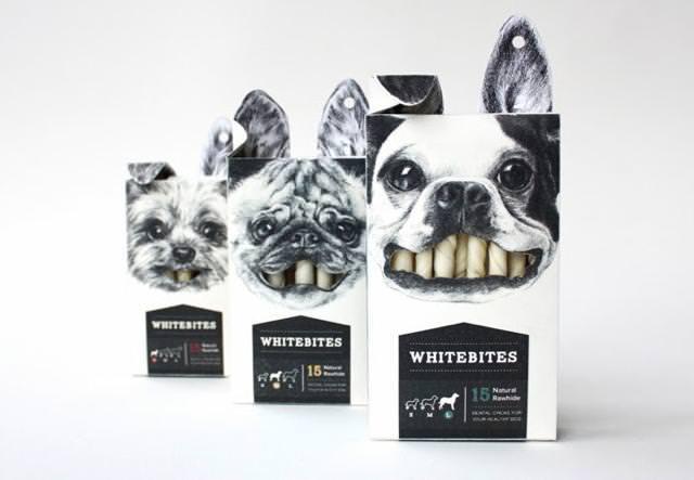 犬が頬張る様子を描いた、イヌのお菓子のパッケージデザイン