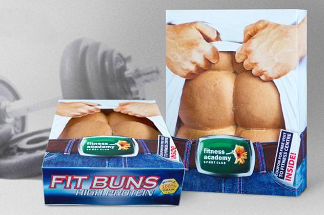 ムキムキの腹筋をかたどったパンのパッケージデザイン