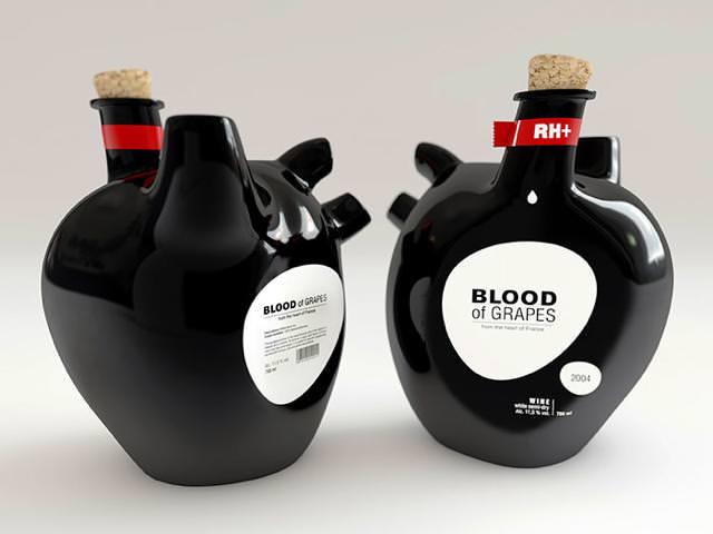 心臓をかたどったワインボトルのパッケージデザイン