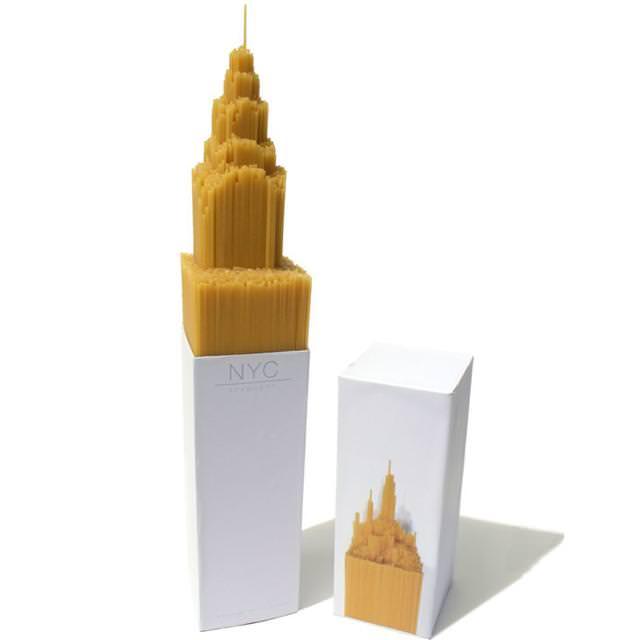 ニューヨークのビルをかたどった、スパゲッティのパッケージデザイン