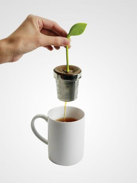 おしゃれな茶こし(ティーストレーナー):若葉と植木鉢