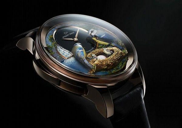 二羽の青い鳥をモチーフにした腕時計