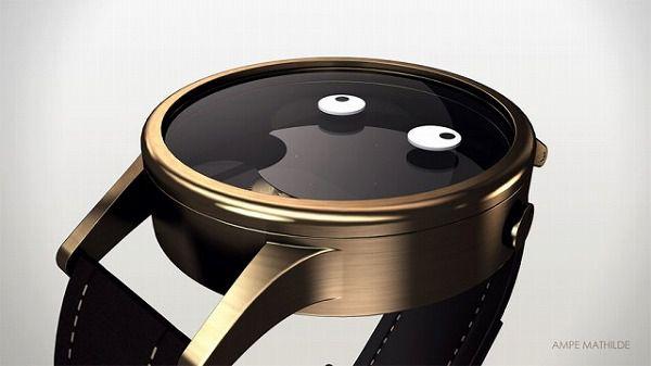 おもしろい顔の腕時計