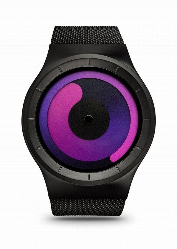 二重の渦巻きで時刻が表示される腕時計