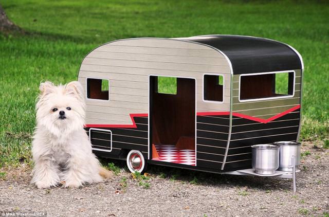お洒落な犬小屋:愛犬用キャンピングカー(黒)