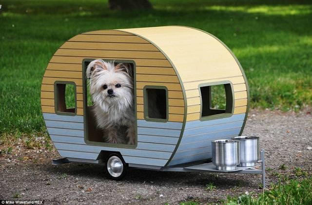 お洒落な犬小屋:愛犬用キャンピングカー(水色・黄色)