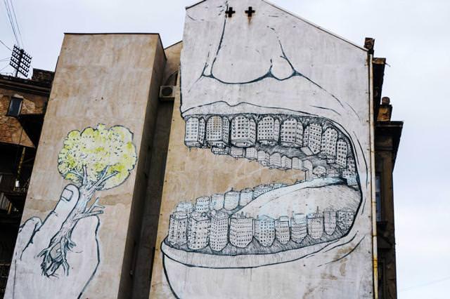 環境問題の風刺画:森林を伐採して先進国の肥やしに