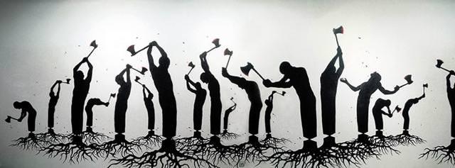 環境問題の風刺画:森林伐採で緩やかに自殺