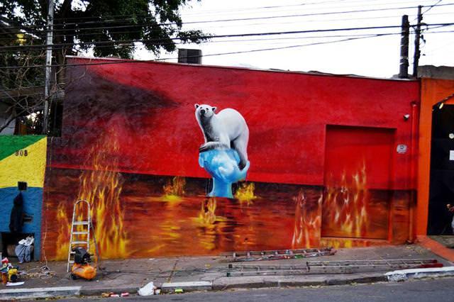 環境問題の風刺画:地球温暖化で住処を奪われるシロクマ