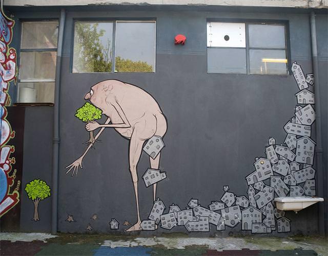 環境問題の風刺画:地球の資源を喰い物にして繁栄する人類