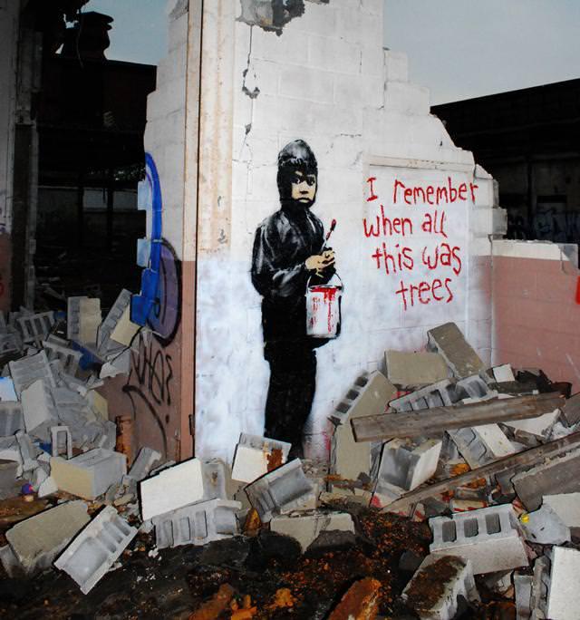 環境問題の風刺画:廃墟の瓦礫は木だった