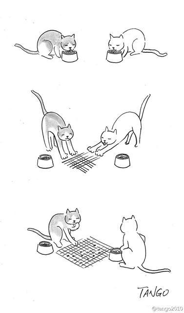 オチが衝撃的な漫画:余ったエサで囲碁を打ち始めるネコちゃんたち