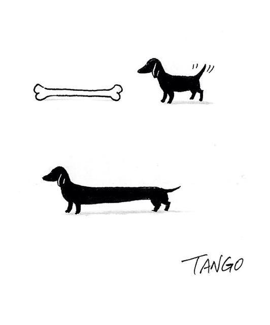 オチが衝撃的な漫画:長〜いホネを食べると、ダックスフンドに早変わり