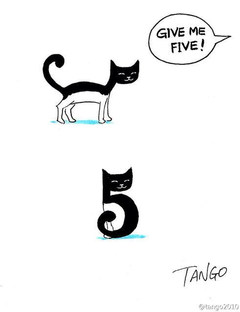 オチが衝撃的な漫画:まだら模様のネコちゃんに「5を頂戴」と言うと・・・