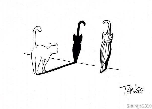 オチが衝撃的な漫画:一人ぼっちの傘にお友達を作ってあげるネコちゃん
