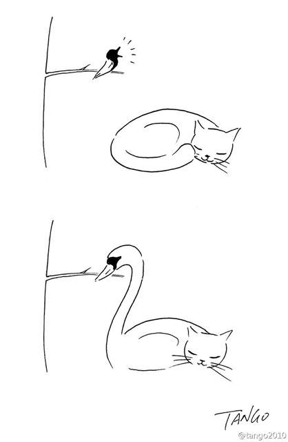 オチが衝撃的な漫画:ネコの尻尾と小鳥で白鳥に変身