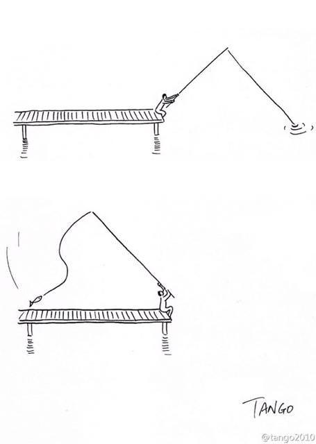 オチが衝撃的な漫画:魚を釣ったらグランドピアノの出来上がり