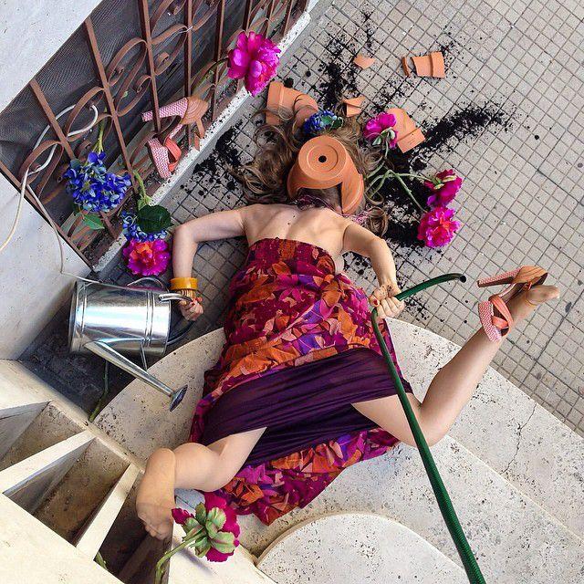 転んで花壇に突っ込んだ面白画像