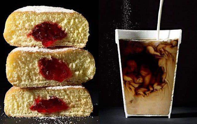 ドーナツとコーヒーの断面写真