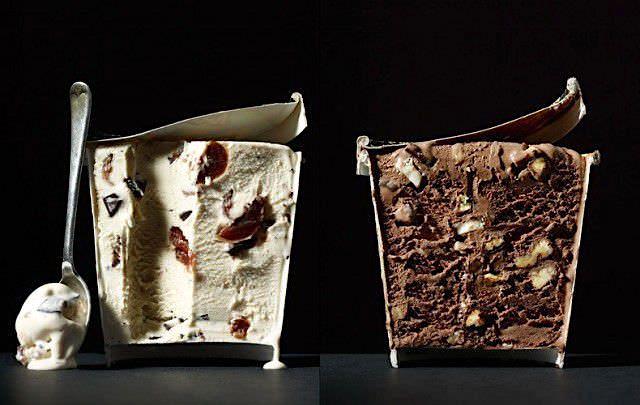 紙容器入りアイスクリームの断面写真
