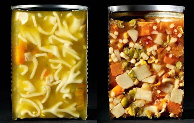 瓶詰めスープの断面写真