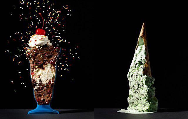 器入りパフェと山盛りアイスクリームの断面写真