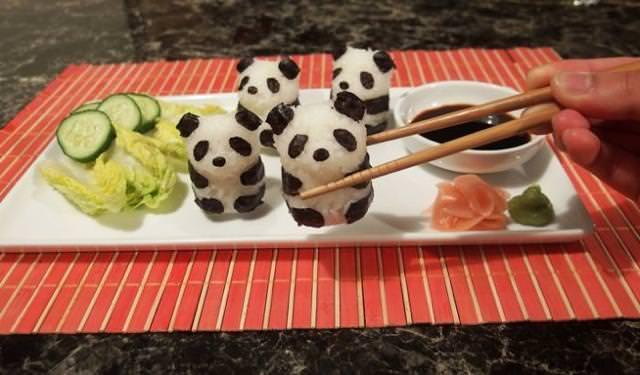 巻き寿司アート3:パンダ