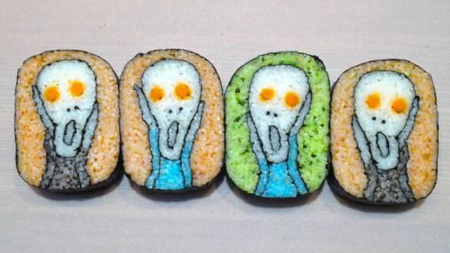 巻き寿司アート7:ムンクの叫び
