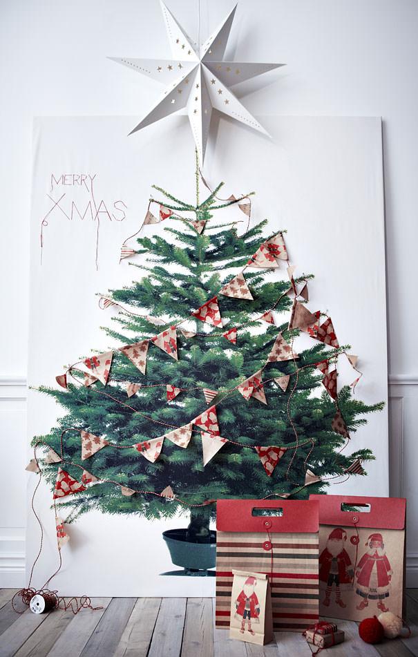 紙に描かれた絵をそのまま活用したクリスマスツリー