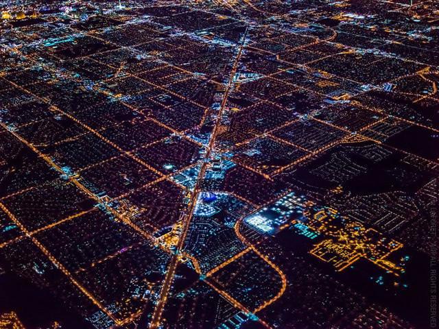 ラスベガスの夜景(都市の上空写真)