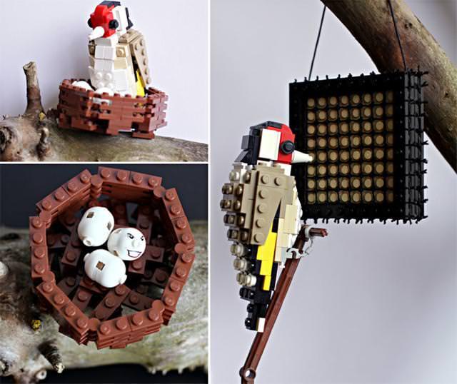 巣の中で卵を温める親鳥のLEGO作品