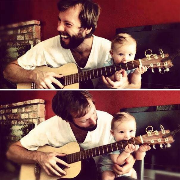 パパそっくりにギターを弾いている息子