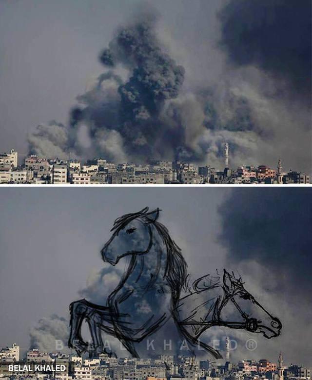 戦争アート:煙の中から躍り出る馬