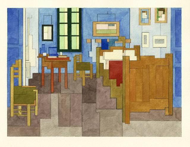 ファン・ゴッホの寝室(アルルの寝室)のドット絵