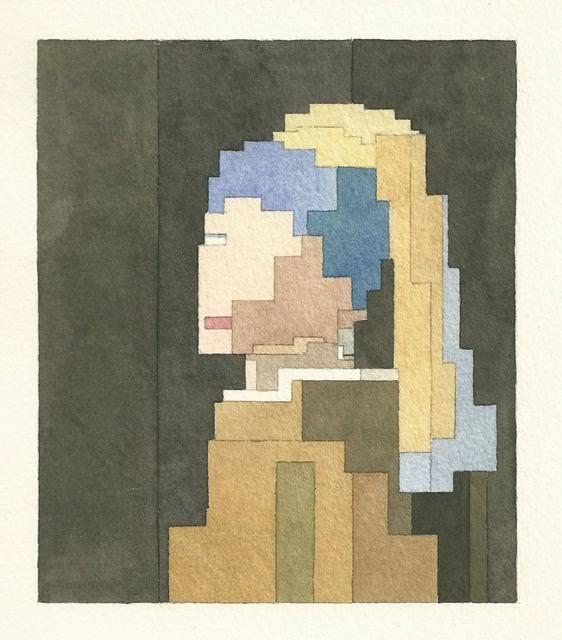 真珠の耳飾りの少女(青いターバンの少女)のドット絵
