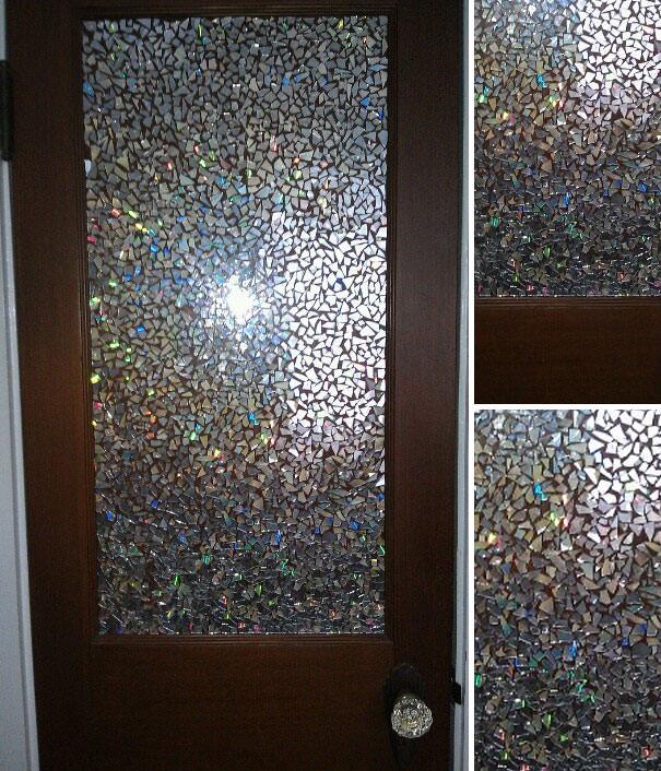 CD工作(リサイクル):磨りガラスっぽくデコレーションしたドア