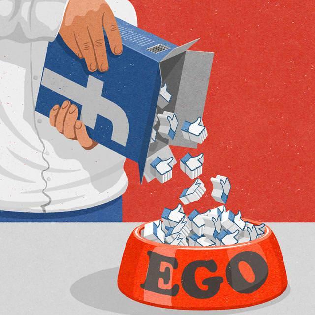 現代の風刺画:facebook投稿にもらった「いいね!」で自尊心を満たす人々