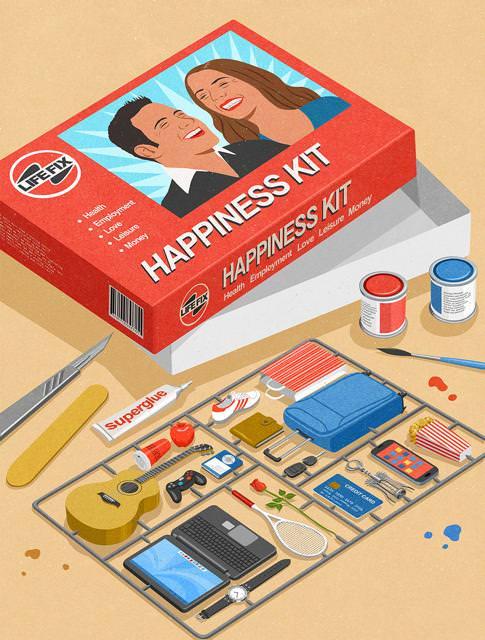 現代の風刺画:【幸せの作り方】物欲を満たすことが、現代人の幸せ