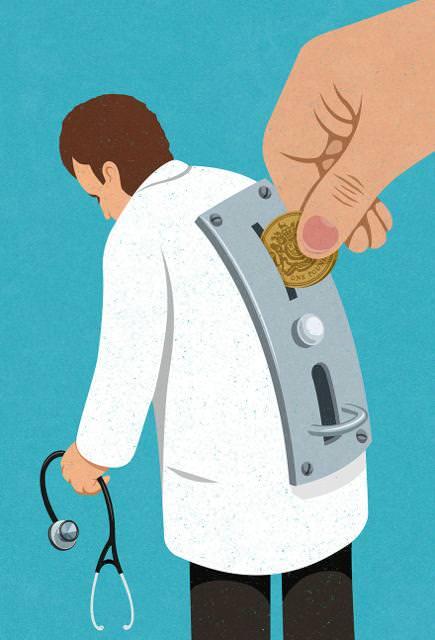 現代の風刺画:お金を入れないと診てくれない医者