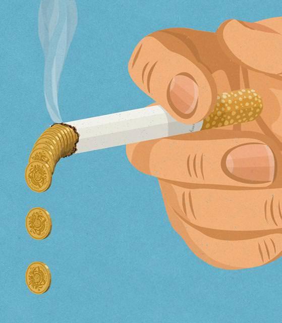 現代の風刺画:タバコはお金のムダ