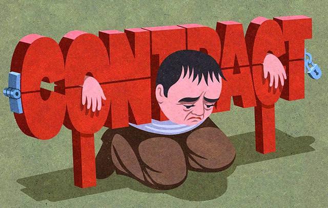 現代の風刺画:契約にがんじがらめに縛られた人