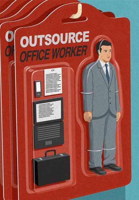 現代の風刺画:大安売りの外部委託(アウトソーシング)